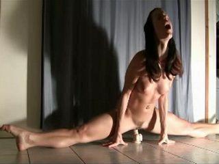 Super Hot Gymnast Enjoying Dildo At Home