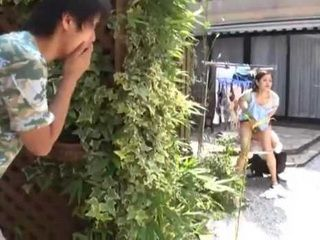 Amazed Step Son Caught Mom Terasaki Izumi Pleasuring Repairman And Decided To Get Piece Of Pussy For Himself