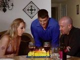 Busty Blonde MILF Celebrating Her Birthday With Two Perverted Guys