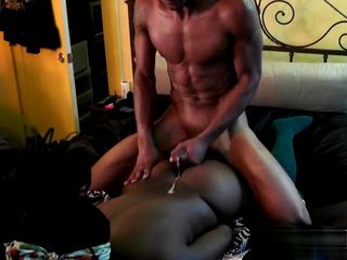 Black Girl With Big Ass Receives a Big Cock in Pussy and Cum on her back
