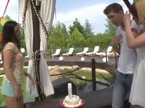Boy In Love Wanted To Surprise Slutty Girl With A Flowers And Cake But She Had Bigger Surprise For Him With Her Best Fri