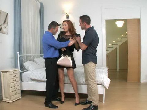 Slutty Whore Was Dped By Two Horny Guys And Anal Creampied