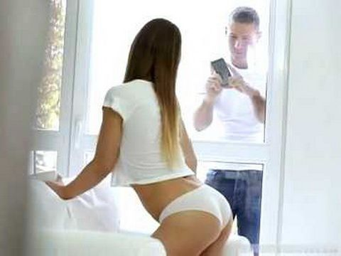 Shameless Hot Teen Posing And Teasing While Guy Next Door Spying her Through Window