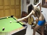 Naughty Teen Playing Pool Half Naked