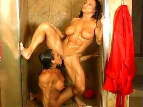 Two lesbian Bodybuilders In A Shower