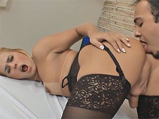 Sexy tgirl and her lingerie gets anal fucked