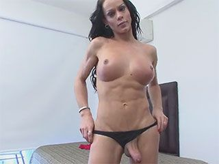 Hard dicked tgirl gets her ass filled with cum