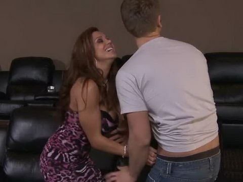 Slutty Milf Called Young Man Next Door To Help Her Fix Home Cinema But That Was A Trap
