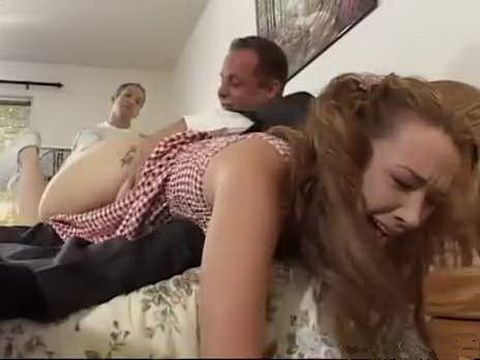 Naughty Teen Maid Punished Badly By Boss And His Son