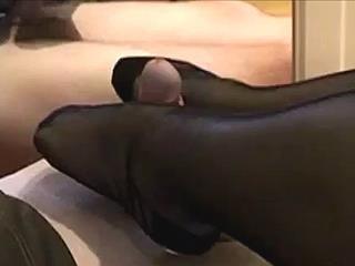 Footjob With Stockings On POV