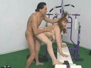 Hairy Granny Grinding In The Gym