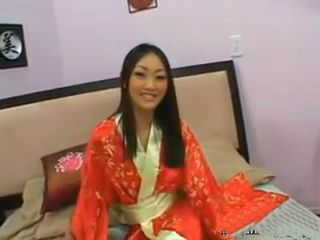 Asian Beauty In Red Kimono And High Heels Fucked By White Man