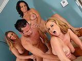 3 Horny MILFs and 1 Guy Have Huge Orgy!