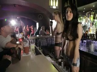 Sexy Bartender Fucks In Storage Room While Party Is On
