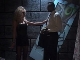 Blonde hooker takes big black cock in back alley
