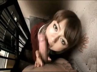 Japanese Girl Sucks Cock POV Style On Stairways