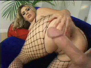Horny Wife In Fishnet Costume Beggs His Man To Shoved Cock Deep Into Her Anus