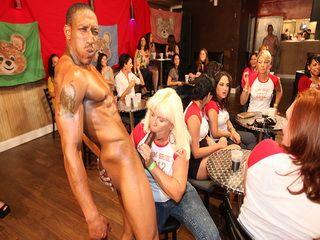 Oiled men swinging their big dicks on craving women