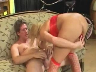 Milf In Red Fishnets Giving A Head And Preparing Asshole For Anal Sex