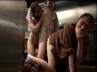 Japanese Chef Fucking Two Cute Kitchen Assistant In Hotel Restaurant