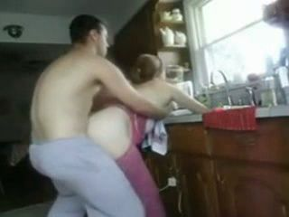 Amateur Husband Interrupt His Chubby Wife While Washing Dishes In The Kitchen For A Quickie