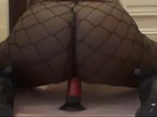 Ebony Chick In Fishnet Pantyhose