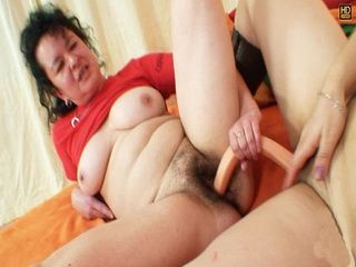 Extremely hirsute mature Hedvika in lesbian action