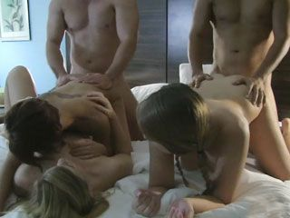 Three hot cowgirls orgy in hotel room