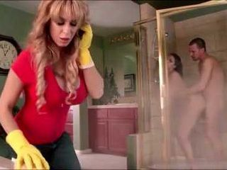 Occupied With Cleaning Huge Boobed Mom Almost Didnt Notice What Happening Behind Her Back