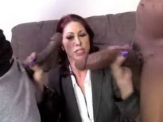 Bussiness MILF Woman Barely Serving Two Monster Cocks