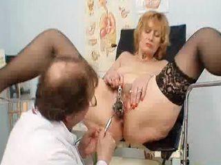 Redhead granny pussy gaping at gyno clinic