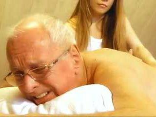 70 Aged Senior Bangs Sweet Teenie Girl On Massage Table
