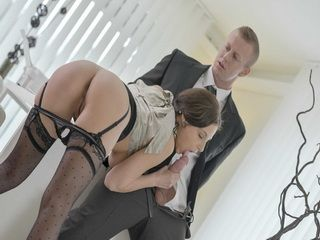 Hot Antonia Sainz gets wet pussy deeply fucked int he office