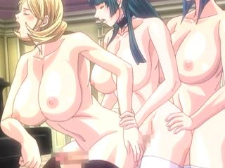 Busty anime shemale maids threesome and group fucking