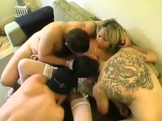 Milf Hooker Receives Three Dicks At The Same Time