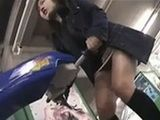Slim japanese whore in short skirt