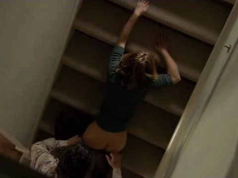 Home Alone Housewife Gets Brutally Anal Fucked On the Stairs By Intruder