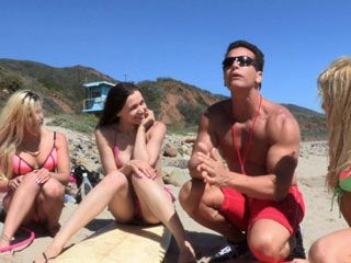 Horny Surfer Girls Share a Hard Cock Of Lifeguard