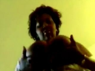 Big stacked mature black woman taped playing with her jugs