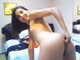 Latin Teen With A Hairy Pussy Close Up Dildo Show