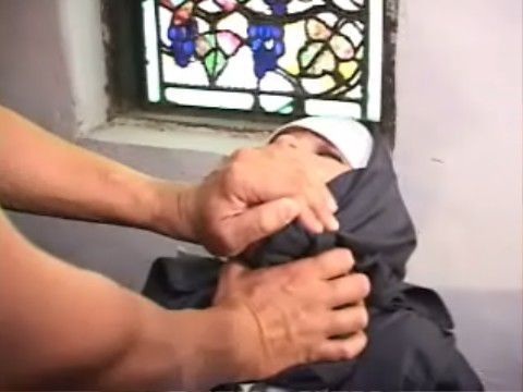 Unfortunate Nun Gets Mercilessly Anal Gangbanged In The Church By Hooligans