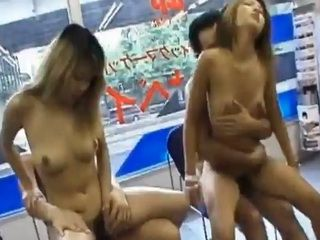 2 horny thugs fuck 2 hot Japanese babes in minimarket
