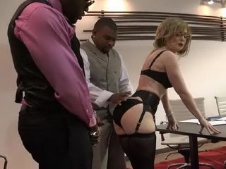 Old MILF Boss Fucked By Two Monster Cocks On A Bussiness Meeting