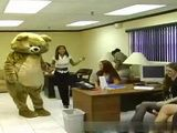 Teddy Bear Stripper Came To Wish Happy Bday To Dirty Slut In Office