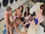 Busty teen fucked together with her BFFs in public laundry