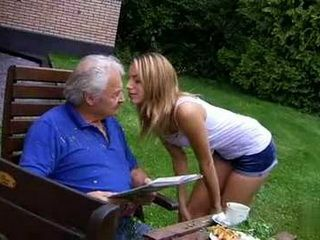 Naughty Blonde Apologize Nicely to Old Grandfather For Making A Mess In His Backyard