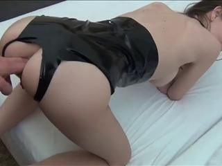 Skinny Brunette Anal Fucked And Creampie