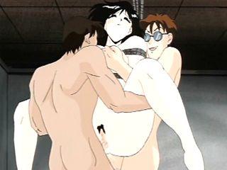 Busty Japanese anime bondaged and hard double penetrated