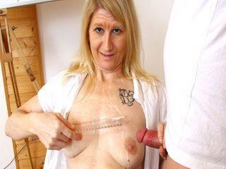 Matured Blonde Teacher Measuring Her Student Big Cock