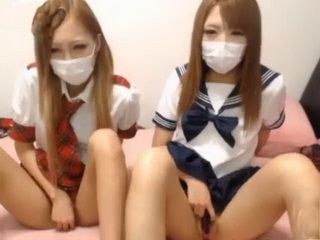 Masked Asian Teens Having Show On The Webcam